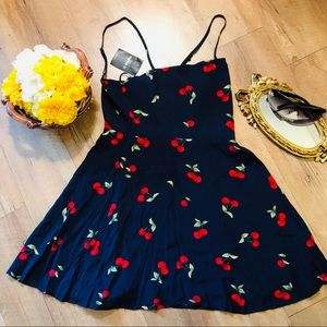 NWT Blue and red Cherry short cami dress sz small